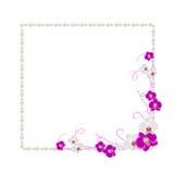 Quadro floral com pérolas Imagem de Stock