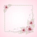 Quadro floral com pérolas Fotografia de Stock Royalty Free