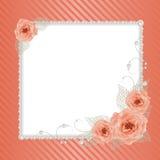Quadro floral com pérolas Foto de Stock Royalty Free