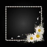 Quadro floral com pérolas Fotografia de Stock