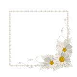 Quadro floral com pérolas Imagens de Stock Royalty Free