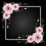 Quadro floral com pérolas Imagens de Stock