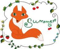 Quadro floral com raposa bonito ilustração stock
