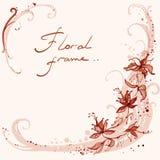 Quadro floral com redemoinhos Fotos de Stock Royalty Free