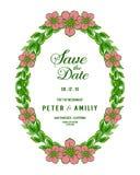 Quadro floral da folha do verde do projeto da ilustração do vetor para o cartão de casamento do molde ilustração do vetor