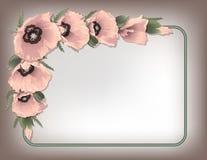 Quadro floral das papoilas cor-de-rosa, vetor Fotografia de Stock Royalty Free