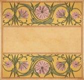 Quadro floral de papel velho Fotos de Stock