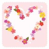 Quadro floral do coração Imagens de Stock
