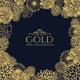 Quadro floral do ouro na obscuridade - projeto azul da arte do vetor do fundo Imagem de Stock Royalty Free
