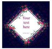 Quadro floral do quadrado, espaço para o texto Escuro - fundo azul ilustração royalty free