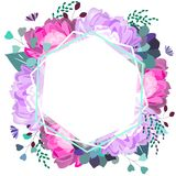 Quadro floral do vetor com a peônia do rosa e a violeta, planta carnuda, folhas Projeto na moda do ver?o ilustração stock