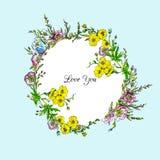Quadro floral do vetor da aquarela Imagem de Stock