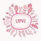 Quadro floral do vetor e rotulação do amor O amor da palavra fundo romântico Flores e folha botânicas dos elementos Foto de Stock Royalty Free