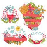 Quadro floral do vintage à moda ajustado com fitas Imagens de Stock