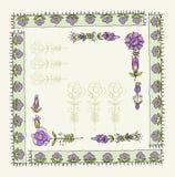 Quadro floral do vintage isolado no fundo branco Imagens de Stock Royalty Free