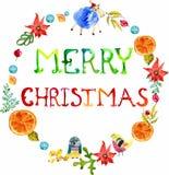 Quadro floral e animal do Natal da aquarela com texto Fotos de Stock Royalty Free