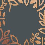 Quadro floral gráfico bonito dourado Quadro do vetor com ervas e folhas Efeito dourado da folha do brilho Cores do bronze do ouro ilustração stock