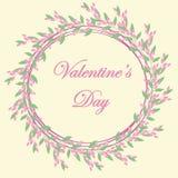 Quadro floral para o projeto do cartão, convites do casamento, dia de Valentin, aniversário, dia do ` s da mãe ilustração stock