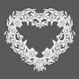 Quadro floral preto e branco no formulário do coração ilustração do vetor