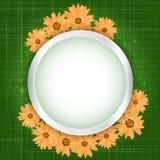 Quadro floral redondo com efeito das luzes no fundo alaranjado brilhante Bandeira de brilho com estrelas e brilho Vetor ilustração stock