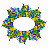 Quadro floral tirado mão da garatuja Imagens de Stock Royalty Free