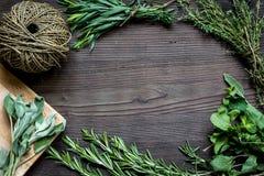 Quadro fresco da erva na opinião superior do fundo de madeira escuro Fotos de Stock Royalty Free