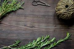 Quadro fresco da erva na opinião superior do fundo de madeira escuro Imagem de Stock Royalty Free
