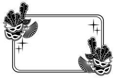 Quadro horizontal da silhueta com máscaras do carnaval Clipart da quadriculação Imagem de Stock