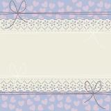 Quadro horizontal do laço com corações decorativos Fotografia de Stock