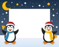 Quadro horizontal dos pinguins do Natal Foto de Stock