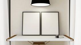 Quadro a imagem na tabela de madeira e na lâmpada pendurado - rendição 3D Imagem de Stock