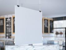 Quadro indicador branco que pendura no café rendição 3d Foto de Stock