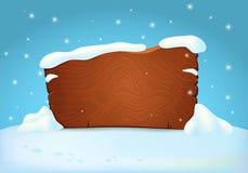 Quadro indicador de madeira coberto de neve na terra nevado com flocos de neve de queda ilustração stock