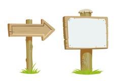 Quadro indicador de madeira velho e setas de madeira do sentido Foto de Stock