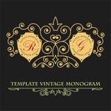 Quadro indicador dourado para o restaurante, loja, salão de beleza Quadro decorativo do ornamento da folha Lugar para o logotipo  ilustração stock