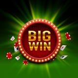 Quadro indicador grande do casino da vitória, projeto da bandeira do jogo ilustração do vetor