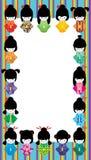 Quadro japonês da listra do arco-íris da menina da boneca Imagens de Stock Royalty Free