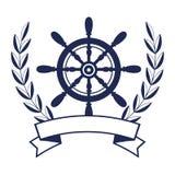 Quadro marítimo do timon do navio ilustração stock