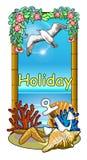 Quadro marinho do tema com shell e estrela do mar Fotografia de Stock Royalty Free
