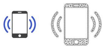 Quadro Mesh Cellphone Vibration do fio do vetor e ícone liso ilustração royalty free