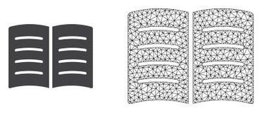 Quadro Mesh Open Book do fio do vetor e ícone liso ilustração do vetor
