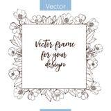 Quadro monocromático do vetor da flor ilustração royalty free