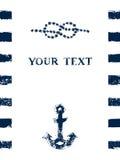 Quadro náutico do grunge do azul e do whte com listras, nó marinho e âncora, vetor Fotografia de Stock Royalty Free