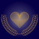 Quadro na forma de um coração na obscuridade - fundo azul ilustração do vetor