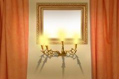 Quadro na parede com draperies Fotografia de Stock