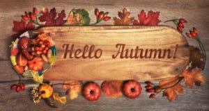 Quadro-negro com ` do outono do ` do texto olá! com decorações da queda imagens de stock royalty free