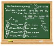 Quadro-negro com fórmulas químicas Foto de Stock