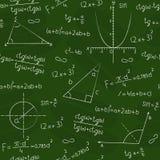Quadro-negro com formas e fórmulas geométricas Imagem de Stock Royalty Free