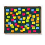 Quadro-negro com notas de post-it Fotos de Stock Royalty Free