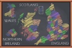 Quadro-negro com o mapa de Reino Unido ilustração stock